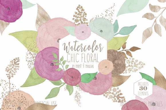 Mauve & Rose Gold Floral Clipart