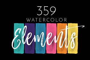 359 Watercolor Shapes Design Bundle
