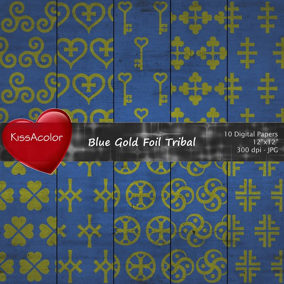 Blue Gold Foil Tribal Patterns