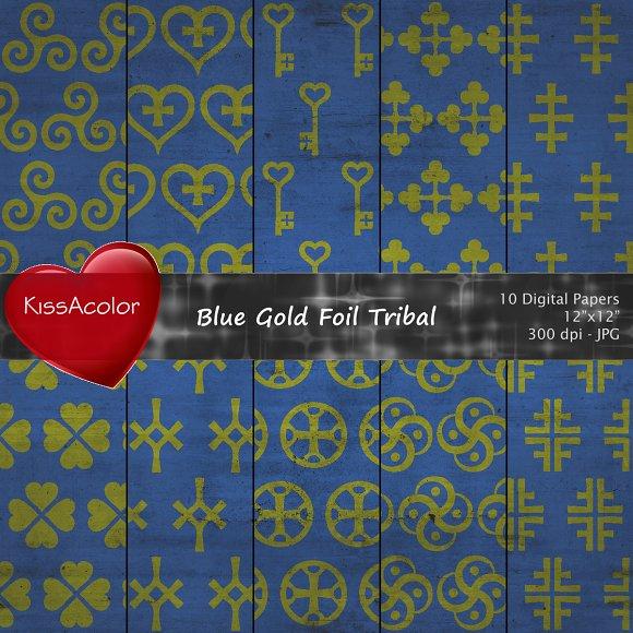 Blue Gold Foil Tribal Patterns