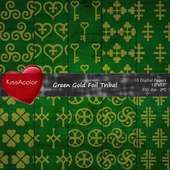 Green Gold Foil Tribal Patterns