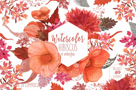Tropical Watercolor Floral Hibiscus