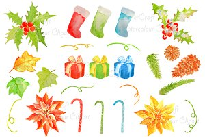 Watercolor Christmas Decorations