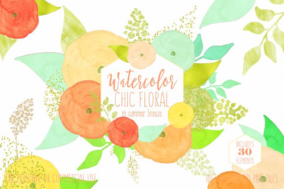 Yellow & Peach Watercolor Flowers