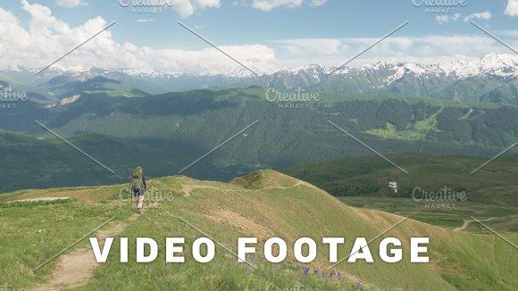 Girl Hikes In The Mountains Koruldi Lakes Area Mestia Georgia