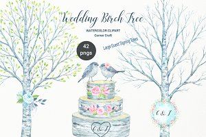 Watercolor Wedding Birch Tree