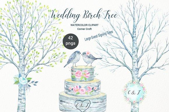Watercolor Wedding Birch Tree