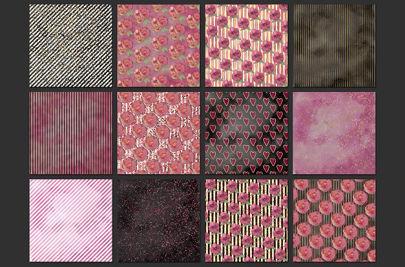 Watercolor Valentine digital paper in Patterns - product preview 2