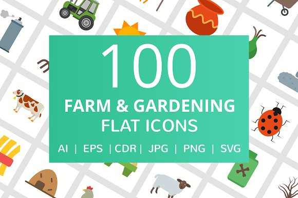 100 Farm & Gardening Flat Icons in Graphics