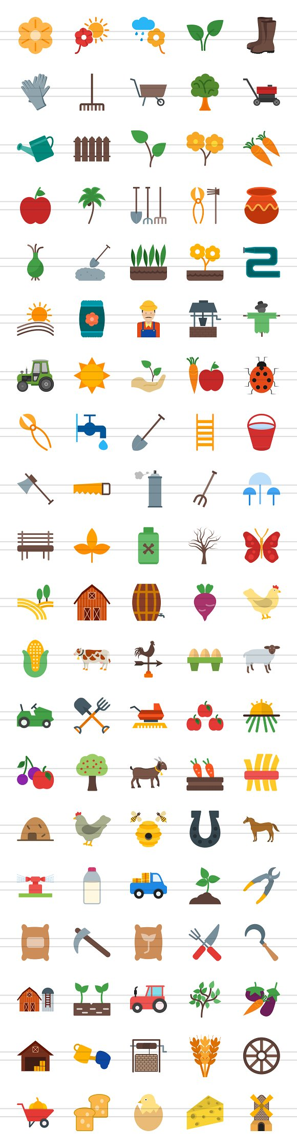 100 Farm & Gardening Flat Icons in Graphics - product preview 1