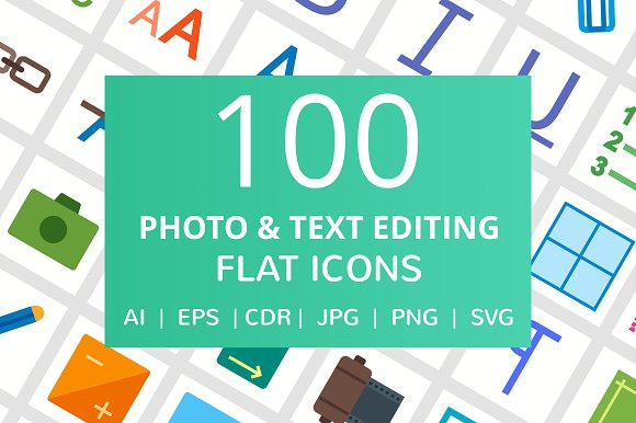 100 Photo & Text Editing Flat Icons