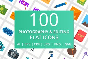 100 Photography & Picture Flat Icons