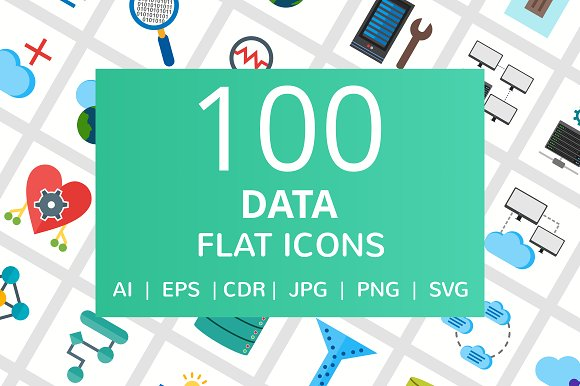 100 Data Flat Icons in Graphics