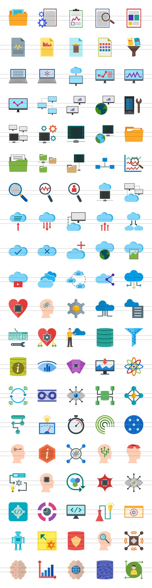 100 Data Flat Icons in Graphics - product preview 1