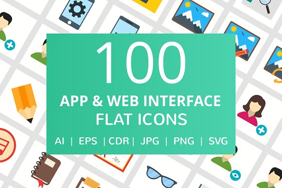 100 App & Web Interface Flat Icons