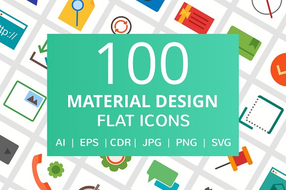 100 Material Design Flat Icons