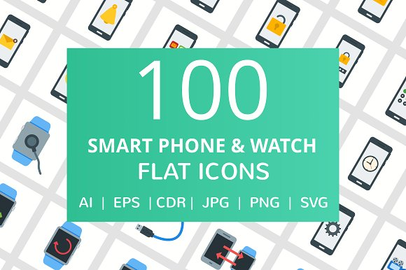 100 Smartphone Watch Flat Icons