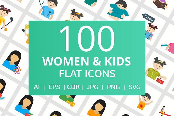 100 Women & Kids Flat Icons in Graphics
