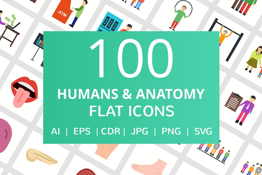 100 Humans & Anatomy Flat Icons in Icons