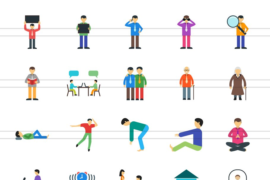100 Humans & Anatomy Flat Icons in Icons - product preview 1