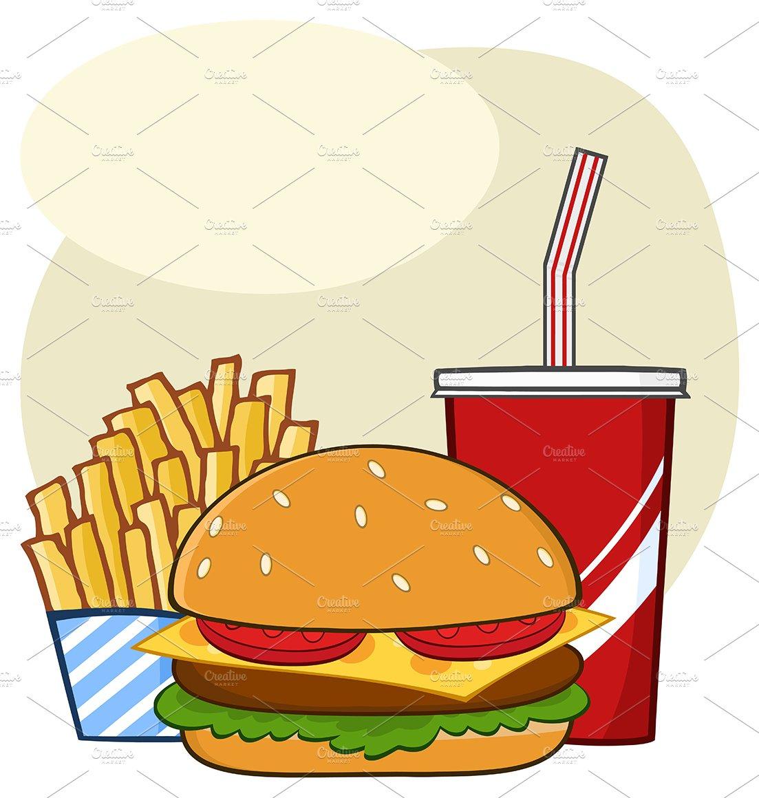 cartoon food fast drink hamburger simple drawing fries french background vector vectors clipart premium illustration illustrations market