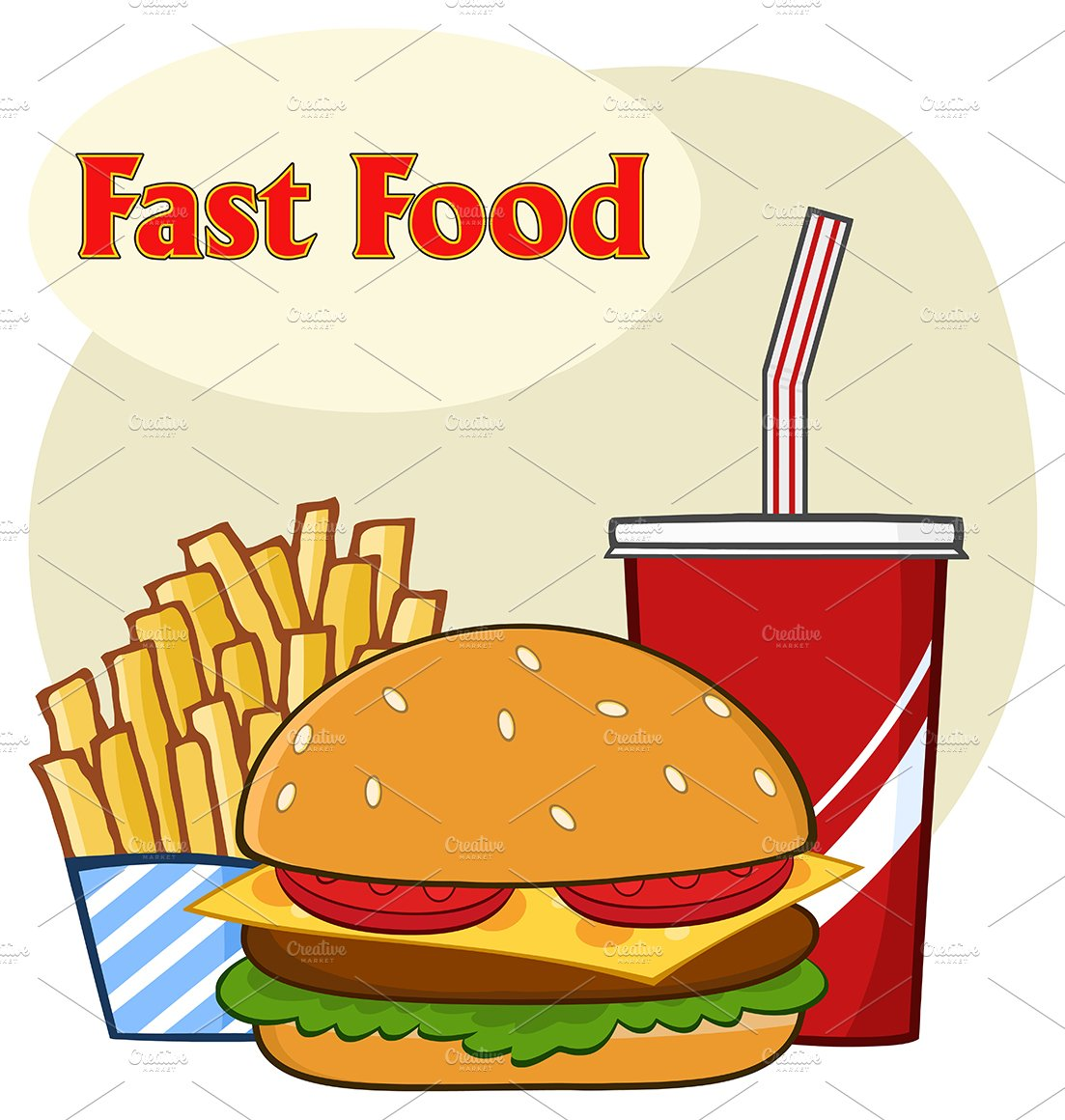 Fast Food Cartoon With Text ~ Illustrations ~ Creative Market