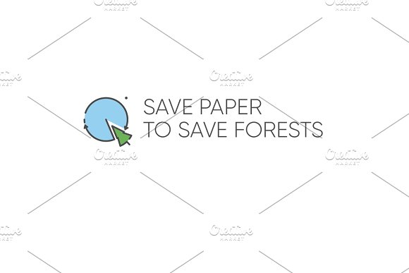 Eco Logo Save paper to save forest