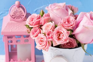 Pink roses flowers and white heart