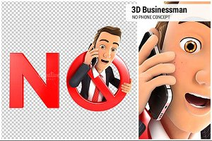3D Businessman No Phone Concept