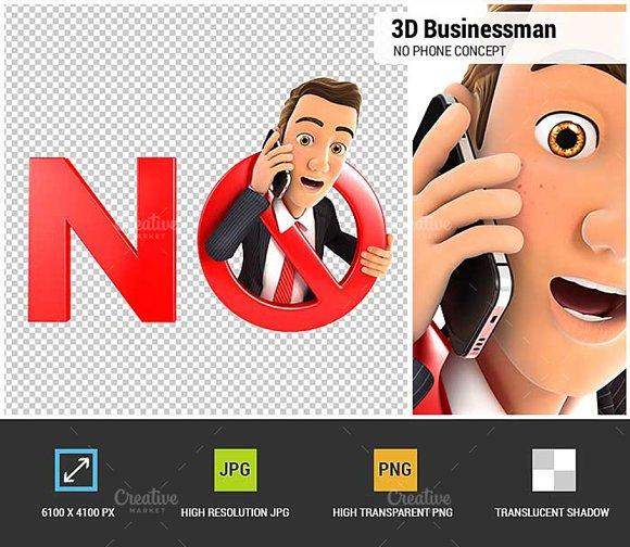 3D Businessman No Phone Concept