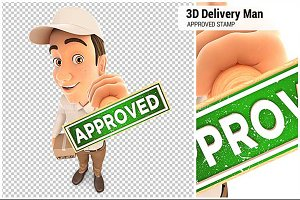 3D Delivery Man Approved Stamp