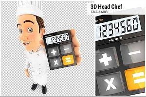 3D Head Chef Holding Calculator