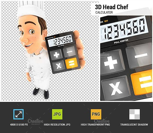3D Head Chef Holding Calculator