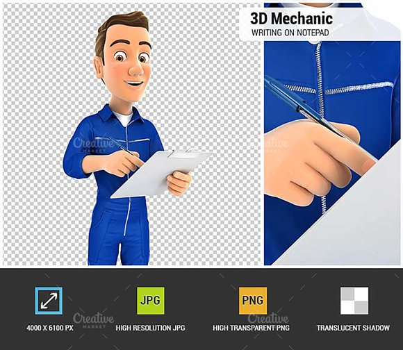 3D Mechanic Writing on Notepad