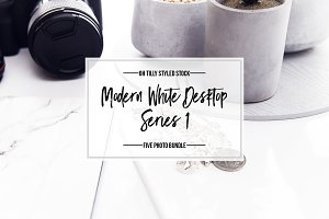 Modern White Desktop Photo Bundle S1