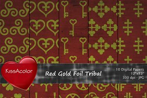 Red Gold Foil Tribal Patterns