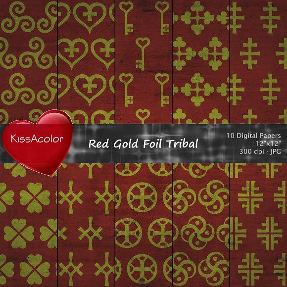 Red Gold Foil Tribal Patterns
