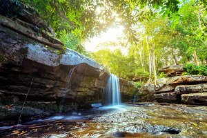 Landscape of small waterfall in the