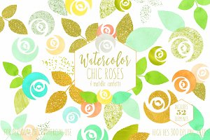 Mint & Gold Chic Floral Clipart