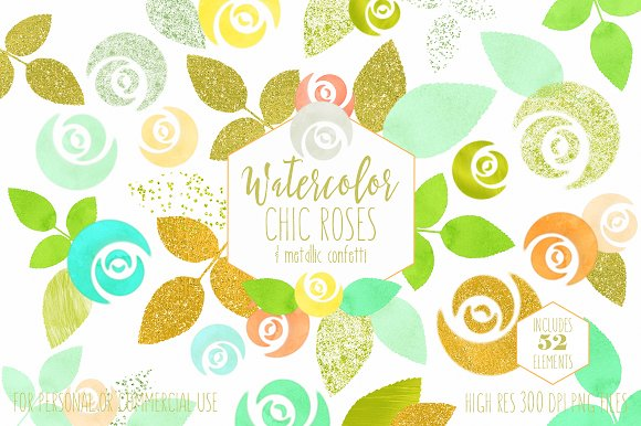 Mint & Gold Chic Floral Clipart in Illustrations