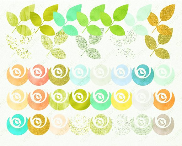Mint & Gold Chic Floral Clipart in Illustrations - product preview 1