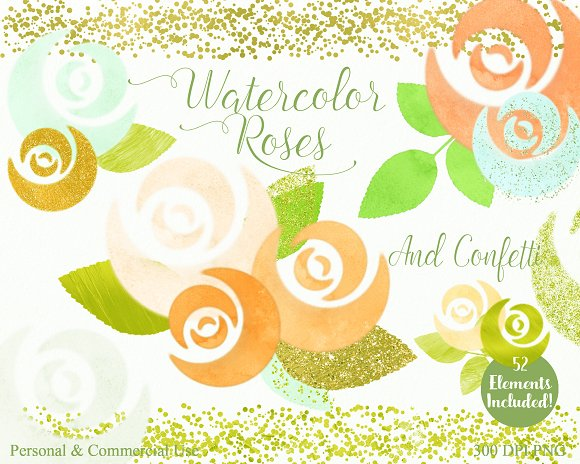 Mint & Gold Chic Floral Clipart in Illustrations - product preview 3