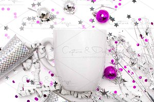 SILVER PARTY CONFETTI MUG MOCK UP ON