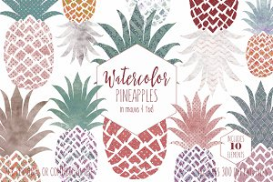 Fun Pineapples in Mauve & Teal