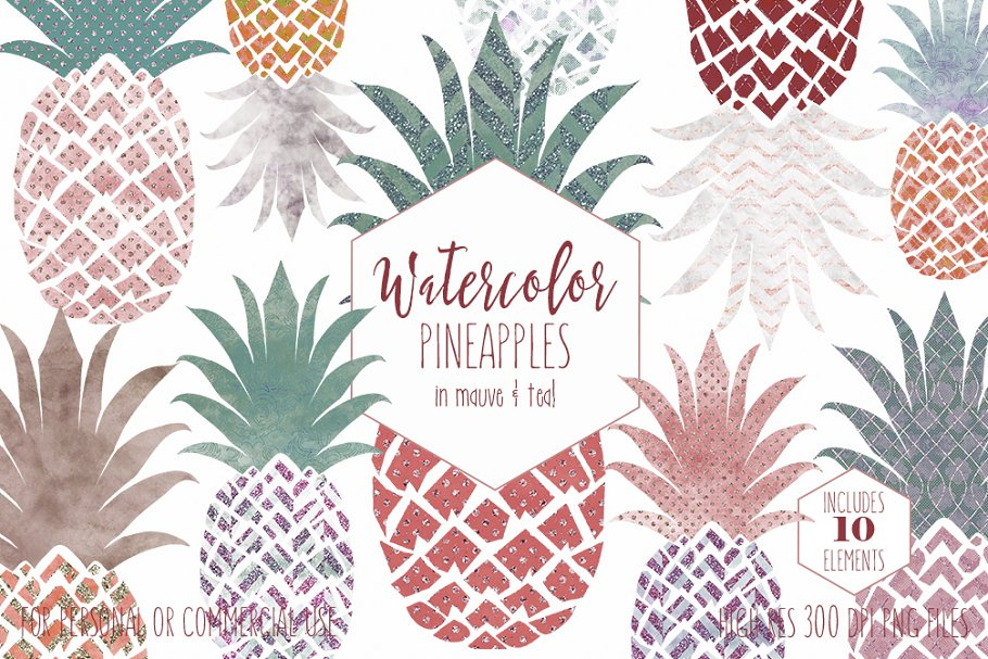 Fun Pineapples in Mauve & Teal