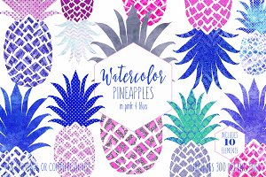 Pineapple Graphics in Pink & Blue