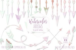 Pastel Rainbow Watercolor Arrows