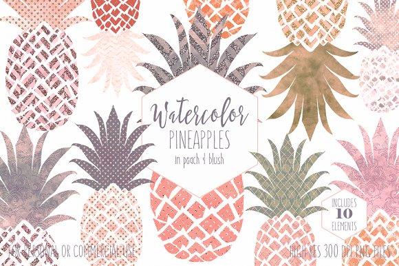 Peach Tropical Pineapple Clipart