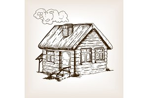 Village house engraving vector illustration