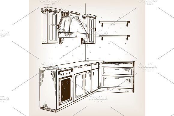 Kitchen furniture engraving vector illustration in Objects